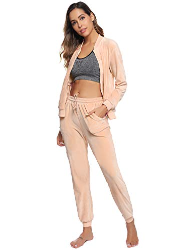 Abollria Women Tracksuits Velour 2 Piece Sweatsuit Top and Bottom Casual Loungewear Joggers Set 6