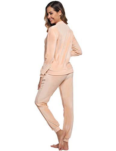 Abollria Women Tracksuits Velour 2 Piece Sweatsuit Top and Bottom Casual Loungewear Joggers Set 8