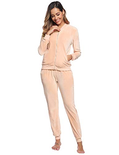 Abollria Women Tracksuits Velour 2 Piece Sweatsuit Top and Bottom Casual Loungewear Joggers Set 1