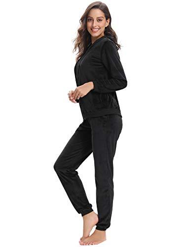 Abollria Womens Pyjama Set Loungewear Long Sleeve Fleece Velvet Winter Tracksuits Jogging Sportwear 6