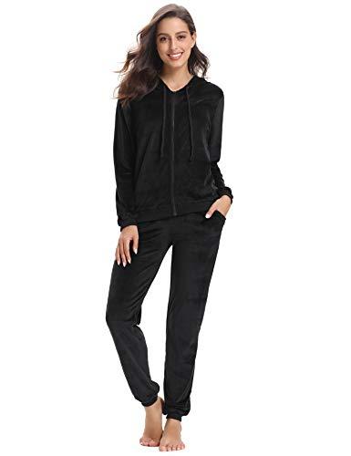 Abollria Womens Pyjama Set Loungewear Long Sleeve Fleece Velvet Winter Tracksuits Jogging Sportwear 7
