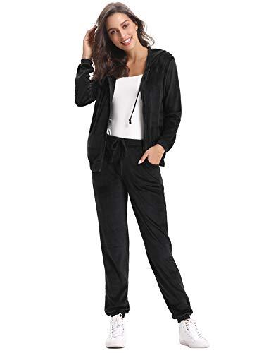 Abollria Womens Pyjama Set Loungewear Long Sleeve Fleece Velvet Winter Tracksuits Jogging Sportwear 1