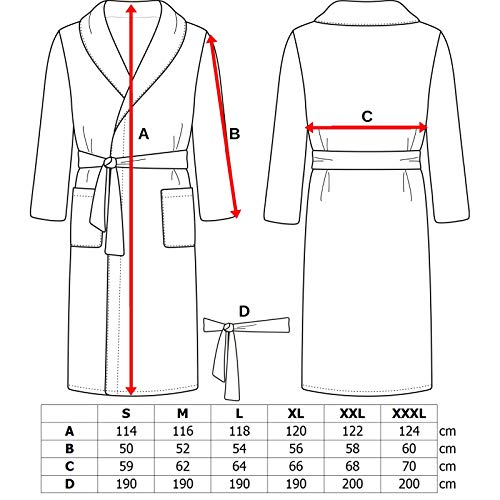 Adore Home Mens and Ladies 100% Cotton Terry Toweling Shawl Collar Red Bathrobe Dressing Gown Bath Robe 3