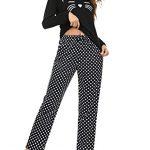 Aibrou Womens Sleepwear Set, Long Sleeve Pyjamas Set for Ladies Cat Printed Tops & Bottom Pjs Set Nightwear Loungewear 17