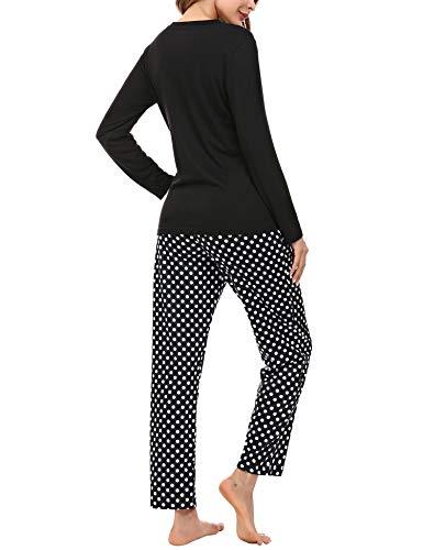 Aibrou Womens Sleepwear Set, Long Sleeve Pyjamas Set for Ladies Cat Printed Tops & Bottom Pjs Set Nightwear Loungewear 5