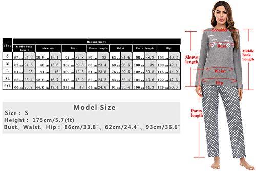 Aibrou Womens Sleepwear Set, Long Sleeve Pyjamas Set for Ladies Cat Printed Tops & Bottom Pjs Set Nightwear Loungewear 7