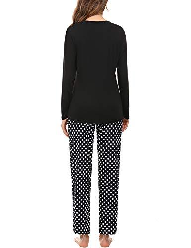 Aibrou Womens Sleepwear Set, Long Sleeve Pyjamas Set for Ladies Cat Printed Tops & Bottom Pjs Set Nightwear Loungewear 8