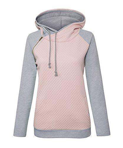 Aitos Womens Hoodies Long Sleeve Jumper Colorblock High Neck Sweatshirt Pullover Sweater Coat Pocket 3
