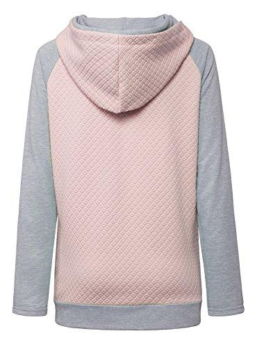 Aitos Womens Hoodies Long Sleeve Jumper Colorblock High Neck Sweatshirt Pullover Sweater Coat Pocket 6