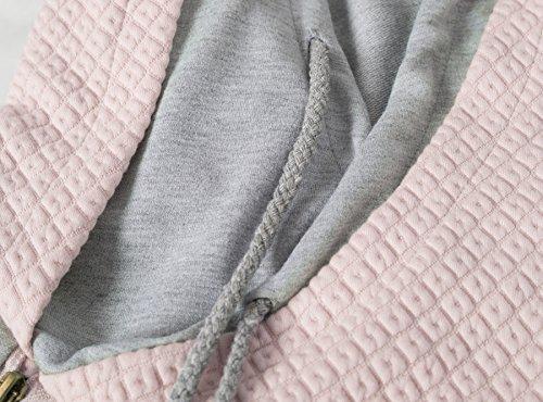 Aitos Womens Hoodies Long Sleeve Jumper Colorblock High Neck Sweatshirt Pullover Sweater Coat Pocket 9