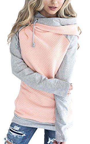Aitos Womens Hoodies Long Sleeve Jumper Colorblock High Neck Sweatshirt Pullover Sweater Coat Pocket 1