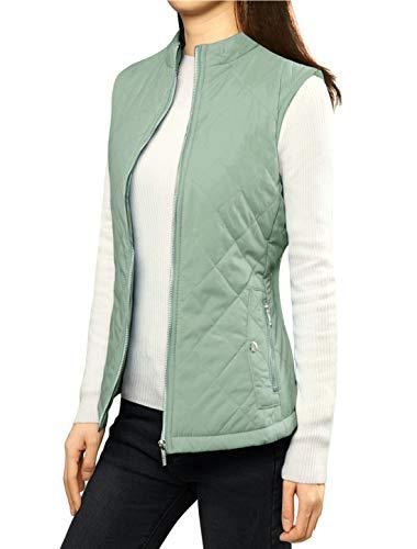Allegra K Women's Body Warmer Stand Collar Lightweight Quilted Zip Jacket Gilet 3