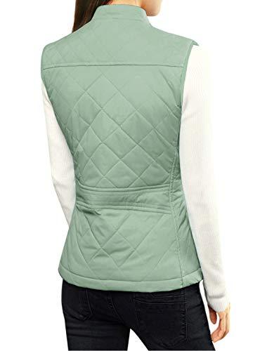 Allegra K Women's Body Warmer Stand Collar Lightweight Quilted Zip Jacket Gilet 4
