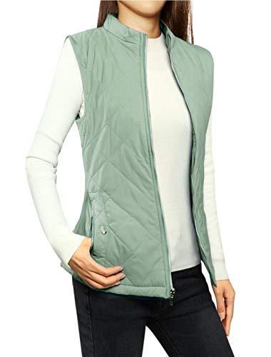 Allegra K Women's Body Warmer Stand Collar Lightweight Quilted Zip Jacket Gilet 1