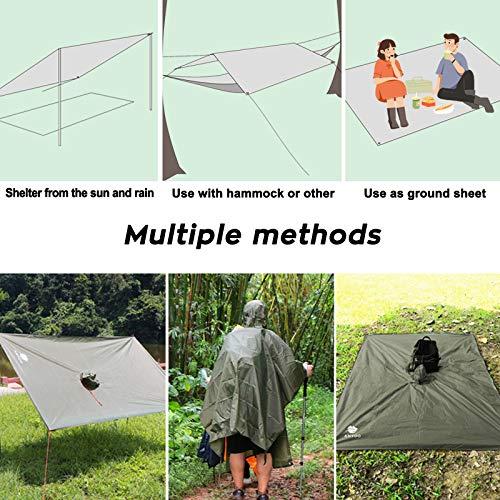 Anyoo Waterproof Rain Poncho Lightweight Reusable Hiking Rain Coat Jacket with Hood for Outdoor Activities 6