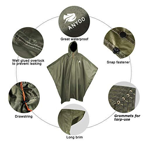 Anyoo Waterproof Rain Poncho Lightweight Reusable Hiking Rain Coat Jacket with Hood for Outdoor Activities 7
