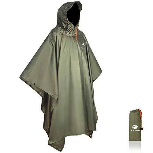 Anyoo Waterproof Rain Poncho Lightweight Reusable Hiking Rain Coat Jacket with Hood for Outdoor Activities 1