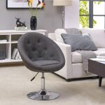 Armchair Club Chair Lounge Chair Faux Leather Dining Chair Height Adjustable Colour Selection WY-509A, colour:light grey… 22