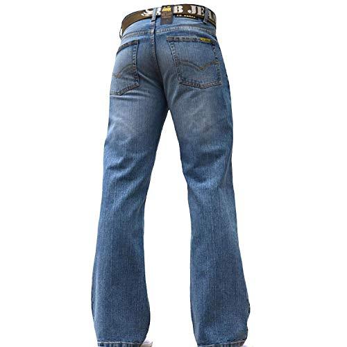 BNWT Men's Wide Leg Bootcut Flared Blue Heavy Denim Jeans 3