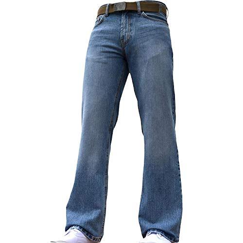 BNWT Men's Wide Leg Bootcut Flared Blue Heavy Denim Jeans 1