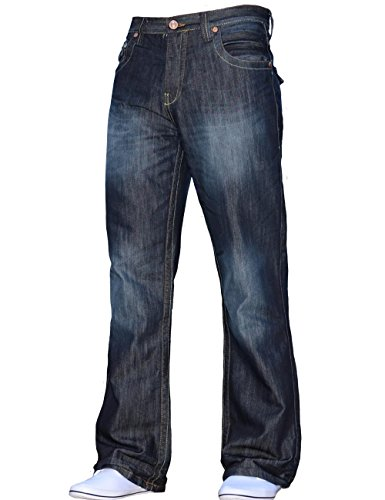 BNWT New Mens Bootcut Flared Big King Size Wide Leg Blue Denim Jeans All Waist 1