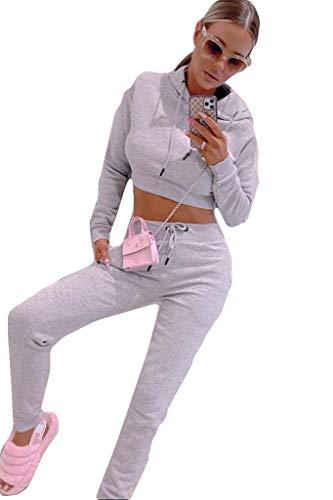 Bahob® Women's Sportswear Set Women Tracksuit Hoodie Crop Top and Pants Joggings Fitness Set 3