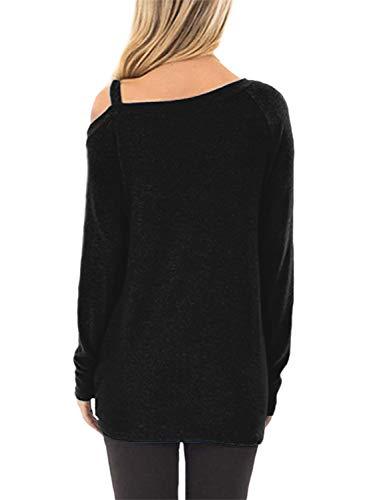 BeLuring Ladies Cold Shoulder Tops Twisted Loose T-Shirt Blouse 3