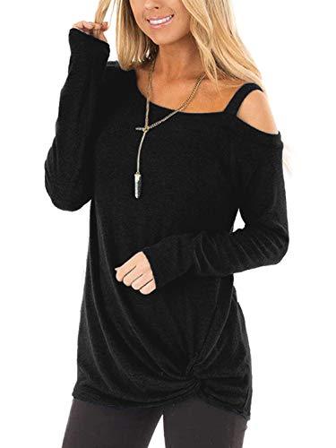 BeLuring Ladies Cold Shoulder Tops Twisted Loose T-Shirt Blouse 1