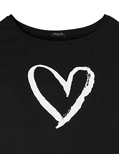 Blooming Jelly Womens Casual Sweatshirts Long Sleeve Tshirts Off The Shoulder Tops Heart Print Pullover 3