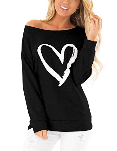 Blooming Jelly Womens Casual Sweatshirts Long Sleeve Tshirts Off The Shoulder Tops Heart Print Pullover 1
