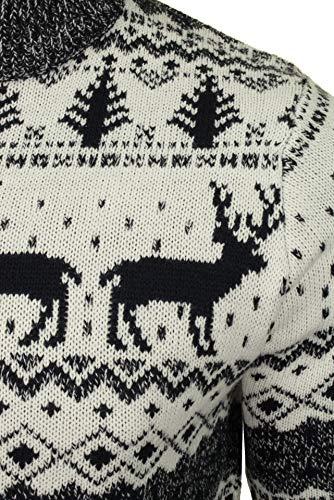 Broken Standard Mens Reindeer Festive Fairisle Zip Funnel Neck Christmas Jumper 4