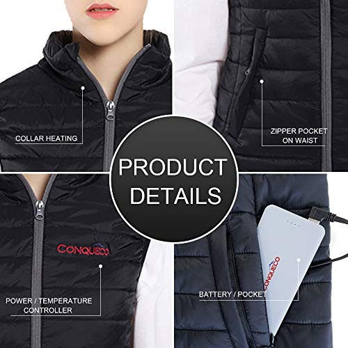 CONQUECO Heated Vest Slim Fit Electric Heating Gilet With Battery Pack in Winter Warm for Outdoor Camping Hiking Hunting 4