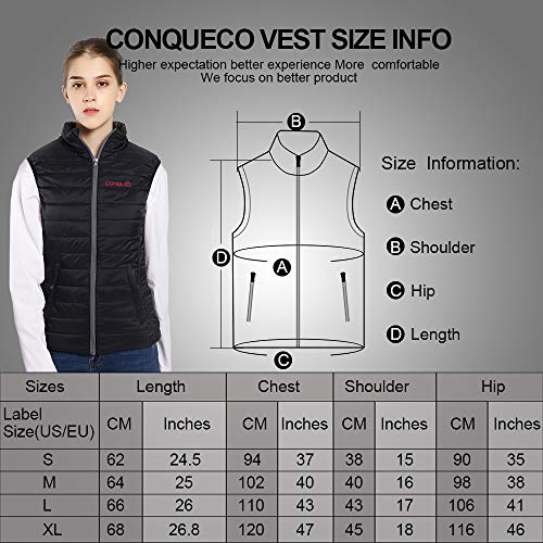 CONQUECO Heated Vest Slim Fit Electric Heating Gilet With Battery Pack in Winter Warm for Outdoor Camping Hiking Hunting 6