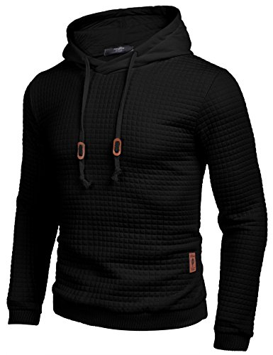 COOFANDY Men's Sweatshirt Hipster Gym Long Sleeve Drawstring Hooded Plaid Jacquard Pullover Hoodies 3
