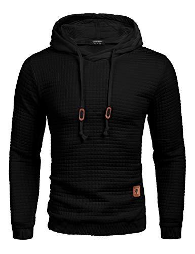 COOFANDY Men's Sweatshirt Hipster Gym Long Sleeve Drawstring Hooded Plaid Jacquard Pullover Hoodies 1