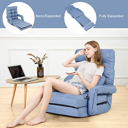 COSTWAY Adjustable Folding Lazy Sofa Bed with Armrests and Pillow, Convertible Floor Armchair Sofa Seat for Home Office… 7
