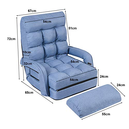 COSTWAY Adjustable Folding Lazy Sofa Bed with Armrests and Pillow, Convertible Floor Armchair Sofa Seat for Home Office… 9