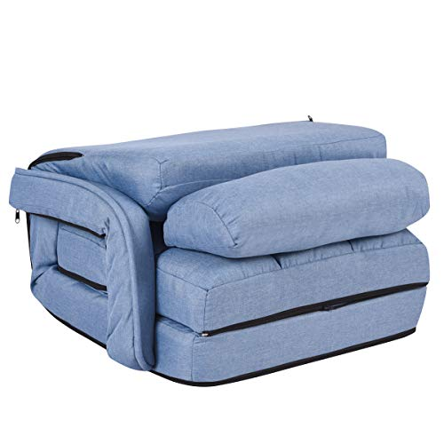 COSTWAY Adjustable Folding Lazy Sofa Bed with Armrests and Pillow, Convertible Floor Armchair Sofa Seat for Home Office… 10