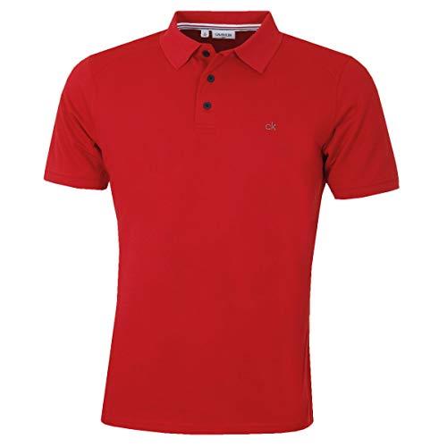 Calvin Klein Mens 2021 Campus 3 Button Light Ribbed Collar Golf Polo Shirt 1