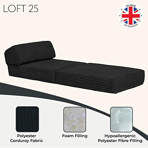 Changing Sofas   'Bjorn' Jumbo Cord Fold Out Single Z Bed Mattress (Charcoal) 7