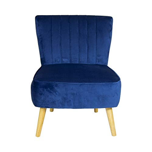 Charles Bentley Velvet Luxury Cocktail Occasion Scalloped Accent Lounge/Bedroom/Dressing Room Chair with Solid Wood Legs… 3