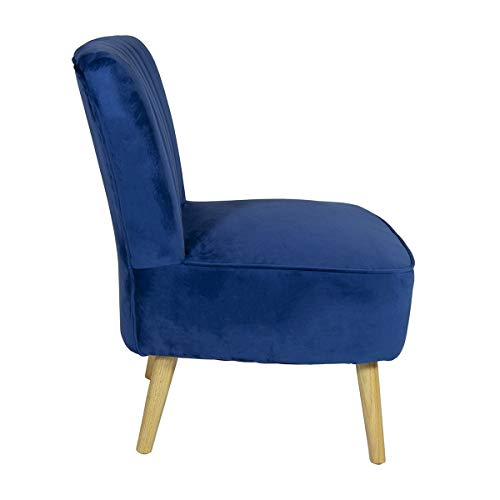 Charles Bentley Velvet Luxury Cocktail Occasion Scalloped Accent Lounge/Bedroom/Dressing Room Chair with Solid Wood Legs… 5