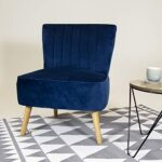 Charles Bentley Velvet Luxury Cocktail Occasion Scalloped Accent Lounge/Bedroom/Dressing Room Chair with Solid Wood Legs… 20