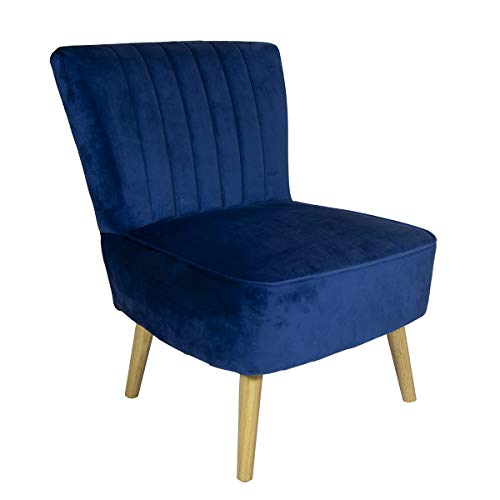 Charles Bentley Velvet Luxury Cocktail Occasion Scalloped Accent Lounge/Bedroom/Dressing Room Chair with Solid Wood Legs… 1
