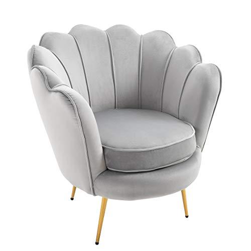 Cherry Tree Furniture HEPBURN Scalloped Velvet Armchair Tub Chair (Deep Blue) 3
