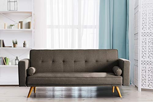 Comfy Living Stylish Fabric Upholstered Clic Clac Sofa Bed (Coffee) 1