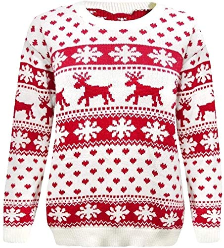 Crazy Girls Red Olives® Womens Baby Reindeer Christmas Jumper Kids Unisex Bambi Deer Xmas Knitted Top 7/8 Years-M/L 3