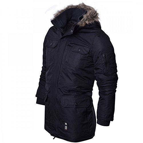 Crosshatch Mens Heavy Weight Fur Hood 'Parked' Parka Padded Waterproof Winter Coat Jacket 6