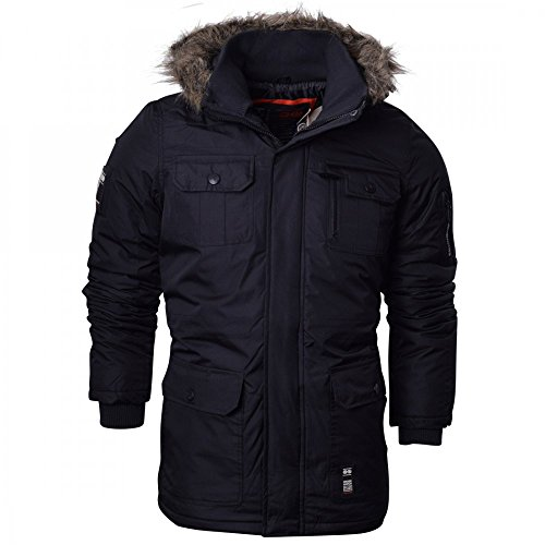Crosshatch Mens Heavy Weight Fur Hood 'Parked' Parka Padded Waterproof Winter Coat Jacket 1