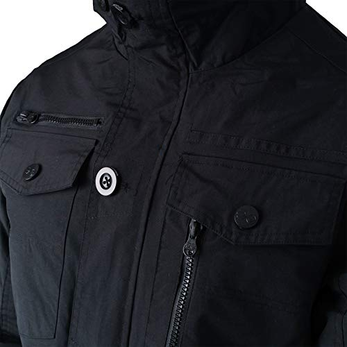 Crosshatch New Mens Full Zip Warm Jacket Padded Double Layer Button Winter Coat 4